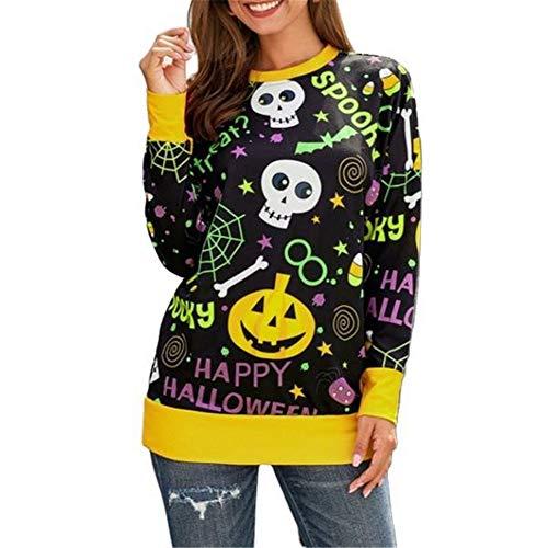 ZFQQ Otoño e Invierno Elemento de Halloween para Mujer Sudadera con Estampado de Letras de Calabaza suéter de Calavera