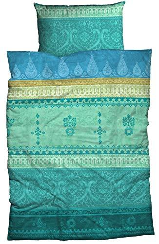 sister s. Bettwäsche Indi Baumwoll Satin aufwendiger Bordürendruck absolut hip modernes Landhaus orientalischer Flair Ornamente (135 cm x 200 cm, smaragd-grün)