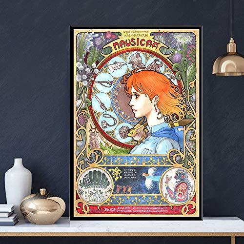 hllhpc Affiche Posters Nausicaa de la vallée du Vent Film Japon Anime Toile Peinture Wall Art Images pour la Maison décoration