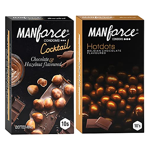 Manforce Premium Condoms (Hotdots Belgian Chocolate with Bigger Dots & Cocktail Chocolate + Hazelnut with Dotted Rings) Combo – 10s (Pack of 2)