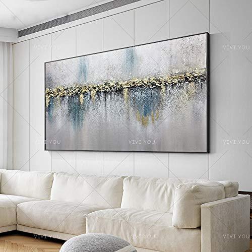 N / A Pintura sin Marco Arte Colorido Gris Blanco Azul Claro Lienzo Pintura al óleo decoración del Dormitorio Pintura Abstracta moderna60X120cm
