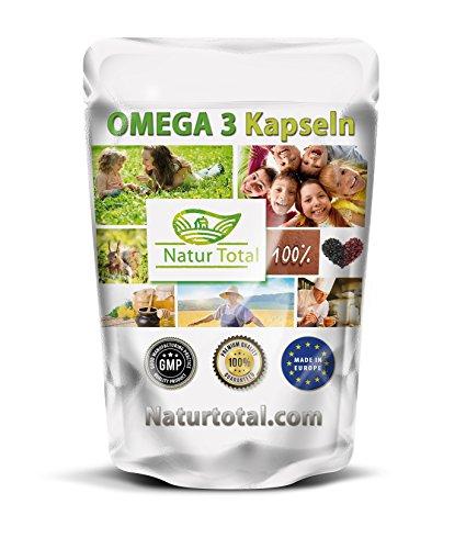 Omega 3 Fischöl Kapseln Hochdosiert: 1000 Stück á 500mg (18% EPA und 12% DHA) Cholesterin Senken - Vitamin e - Premium Qualität - kleine leicht zu schluckende Softgel Kapseln