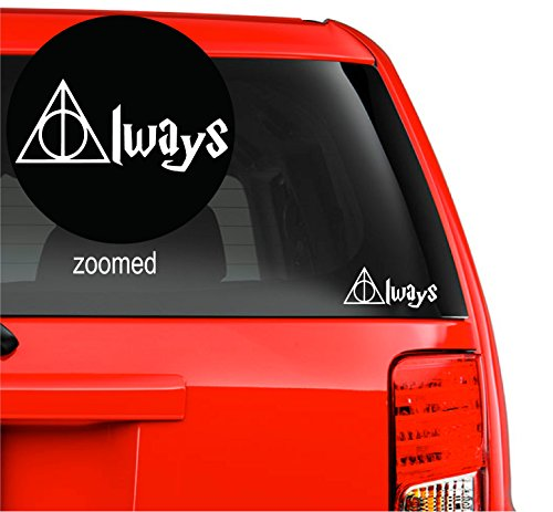 Harry Potter Always Deathly Hallows Vinyl Decal Sticker for car Laptop Room Wall (5.5' inches, White)
