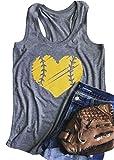 YUYUEYUE Baseball Mom Heart Print Funny Tank Top Women's Casual Vest Cami T-Shirt Tee Gray
