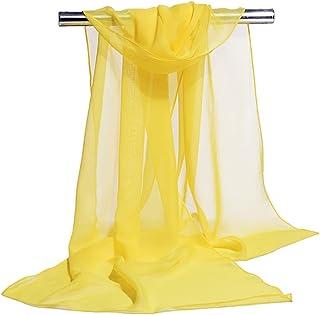 Bullidea Women's Silk Scarf Long Solid Color Chiffon Shawl Wrap Scarves Beach Soft Sun Protection Yellow