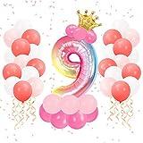 KATELUO Globo de Cumpleaños 9 Años, Globo 9 Años Cumpleaños, Globo Numero 9 Gigante, Globo 9 Rosa, Globo Corna, Decoracion Cumpleaños Niña 9 Años, Globos Números para Cumpleaños, Fiesta, Decoración