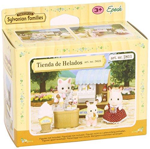 Temática: Muñecos y figuras La heladería de Sylvanian ya ha llegado y tiene cosas tan apetecibles que no sabrás que escoger. No incluye figuras Edad mínima recomendada: 48 meses
