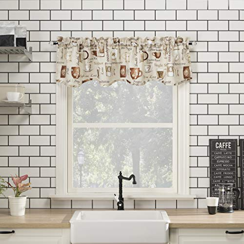 "No. 918 Bristol Coffee Shop Semi-Sheer Rod Pocket Kitchen Curtain Valance, 54"" x 14"", Ivory Off-White"