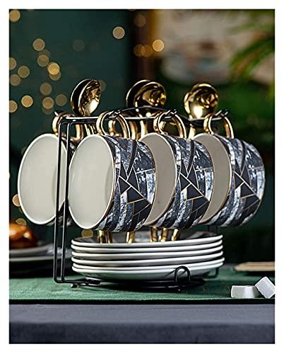 Juego De Tazas Y Platillos De Cerámica para Pastillas Bone China Juego De Tazas De Café Juego De Té Negro De La Tarde Británica Taza De Té De Porcelana con Cuchara (Tamaño: 6 Tazas con Sujeción) Rega