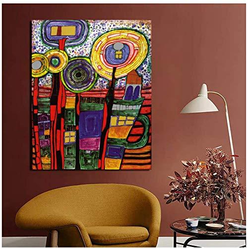 NRRTBWDHL Friedensreich Hundertwasser Kunst Leinwand Malerei Drucke Wohnzimmer Wohnkultur Moderne Wandkunst Malerei Plakate Bilder-Kein Rahmen