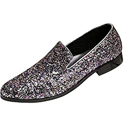 Black Formal Shoes Lace Up Style With Glittering Sequins In White