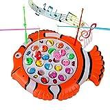 TONZE Jeu de Peche a la Ligne Jeux de Société Jouet Musical Jeu Peche Cadeau Enfant Jeu Educatif Fille Garcon 3 4 5 Ans avec 4 Canne a Peche 21 Possion