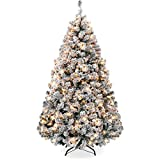 Best Choice Products 6ft Pre-Lit Snow Flocked Artificial Holiday Christmas Pine Tree for...
