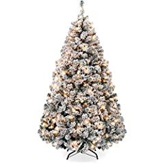 FLOCKED DESIGN: Inspire holiday cheer this season with a flocked Christmas tree that helps make the season feel complete; equipped with sturdy branches, strong enough to hold garland and all your favorite ornaments for a customized look FULL APPEARAN...