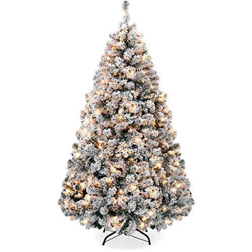 Best Choice Products 7.5ft Pre-Lit Snow Flocked Artificial Holiday Christmas Pine Tree for Home, Office, Party Decoration w/ 550 Warm White Lights, Metal Hinges & Base