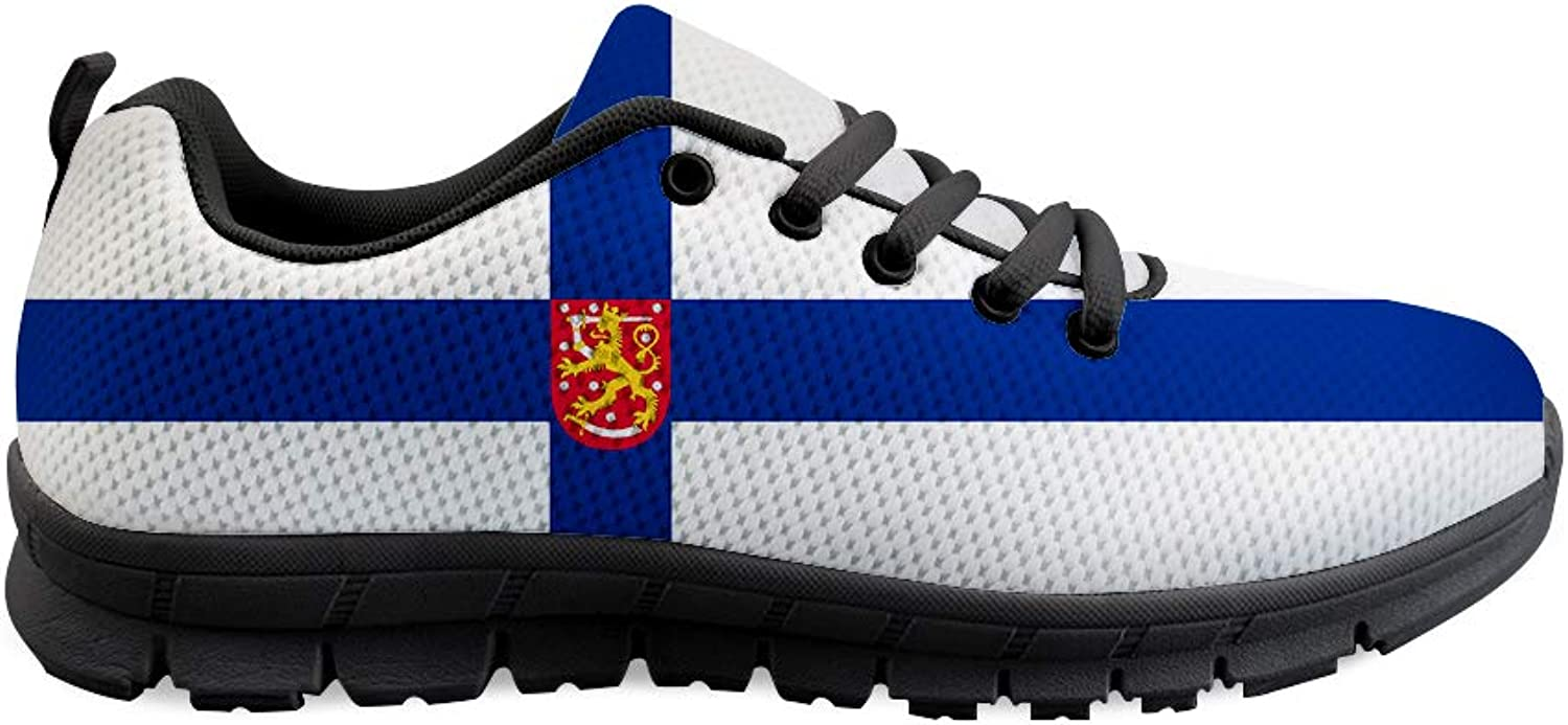 Owaheson Lace-up Sneaker Training shoes Mens Womens Finland Flag National Emblem