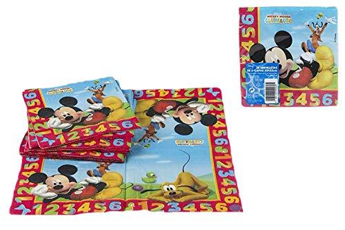 ALMACENESADAN 0774, Pack Disney Mickey Mouse, 8 Platos 20 cms y 20 servilletas de Papel