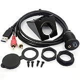 USB RCA Flush Mount Cable USB 3.0 y 3.5mm AUX 2 RCA macho a USB y 1/8 Audio estéreo Femenino tablero panel de montaje de código de extensión para coche Bike Boat Motor (1 Meter)