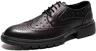 Oxford Formal Oxford Shoes Microfiber Leather Upper Wear-resistant Non-slip Rubber Sole Round Head Shoes for Office Derby Saddle Shoes (Color : Black, Size : 40)