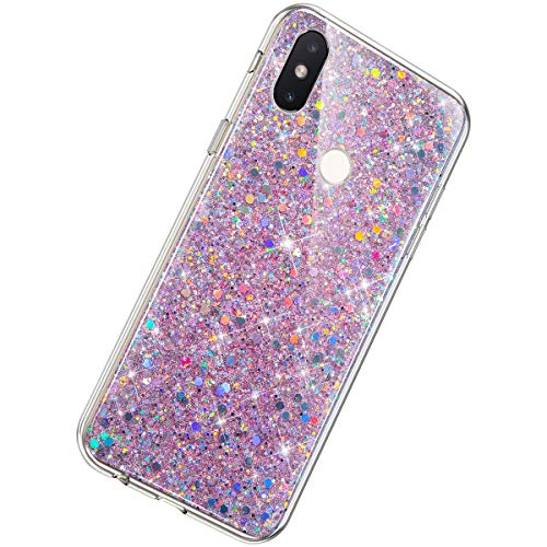 Herbests Compatible with Samsung Galaxy J4 Plus 2018 Case Women Girl Glitter Bling Crystal Sparkle Shiny 3D Diamond Paillette Soft Silicone Gel Rubber Shockproof Protective Case Cover,Pink