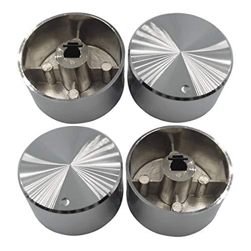 4 PC Rotary Switch Gas Stove Parts Gas Stove Knob Aleación de zinc Perilla redonda con cromado para estufa de gas OD 38mm
