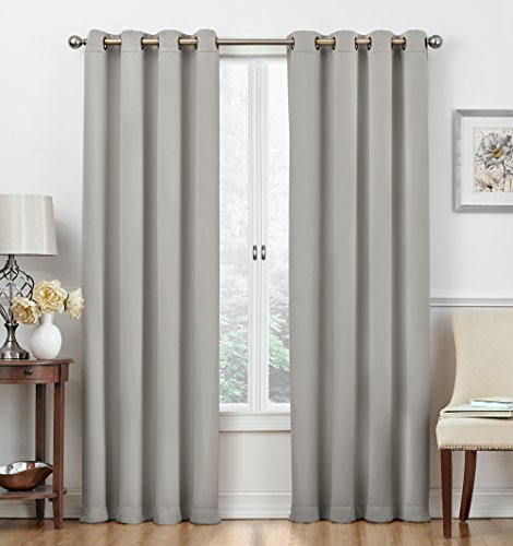 """Ruthy's Textile 54"""" X 84"""" Solid Color Window Blackout Room Darkening Thermal Insulated Curtain Grommet Panels for: Bedroom/Living Room -Energy Efficient, Darkness, Noise Reducing – Set of 2 : Silver"""