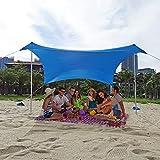 Hidewalker Grande Tenda Parasole Spiaggia Portatile con Aste in Alluminio Tenda Spiaggia Parasole Resistente allo Strappo Multifunzione Terrazza Tende Gazebo (Blu, M)