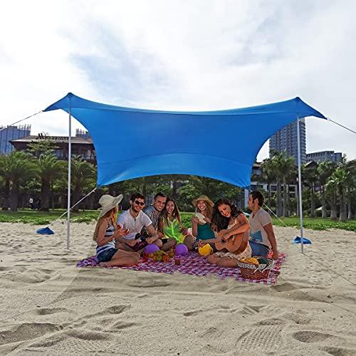 Toldo Familiar Tienda Playa UV 50 Sombrilla Refugio Grande con 2 Postes de Aluminio Carpa Playa VentilacióN para Picnic en La Playa Parques Pesca Al Aire Libre (Azul, S)