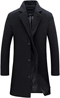 PinShang Fashion Winter Men's Solid Color Trench Coat Warm Long Jacket Single Breasted Overcoat black 3XL
