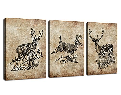 arteWOODS Deer Canvas Wall Art Decor Retro Reindeer Canvas A...