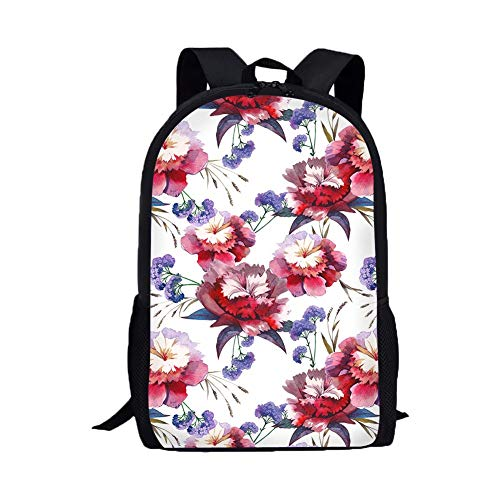 white backpack Floral Pattern backpack bookbag for teens young pockets teenage boys kid unisex woman outdoors college school adults womens kindergarten teens trolls toddler students boy office