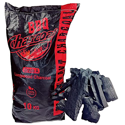 DRAAK Charcoal Lumpwood For BBQ Grade A Restaurant 10kg 100% Natural Outdoor Cooking Long Lasting Barbecue (10 KG)