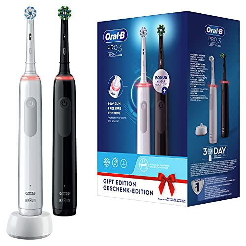 Oral-B Pro3 3900 Doppelpack Elektrische Zahnbürsten/Electric Toothbrushes mit visueller 360° Andruckkontrolle für extra Zahnfleischschutz, 3 Putzmodi inkl. Sensitiv, Timer, weiß/schwarz