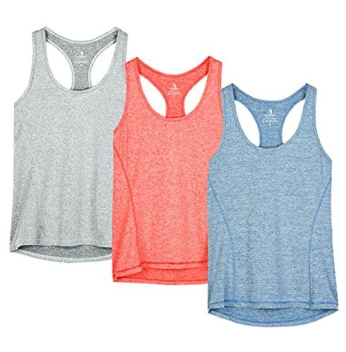 icyzone® Damen Funktions-Tanktop Sporttop Unterhemd Stretch fuer Yoga Fittness training Damen Tanktop Racerback ,Granite/Blue/Orange,S