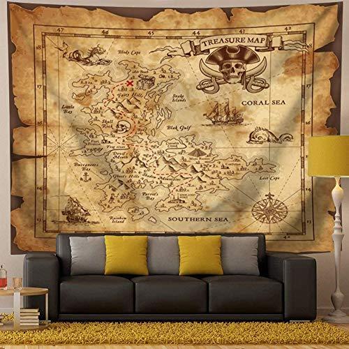 """QCWN Treasure Map Tapeçaria para pendurar na parede, mapa da ilha super detalhado mapa do tesouro Pirates Gold Secret Sea History Theme, Wall Hanig para quarto, sala de estar, dormitório, decoração bege e marrom, 5, 59""""L*51""""W, 1"""