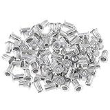Keadic 100Pcs M5 Metric Rivet Nuts, Aluminum Flat Head Threaded Insert Nutserts for Automotive, Furniture, Decoration