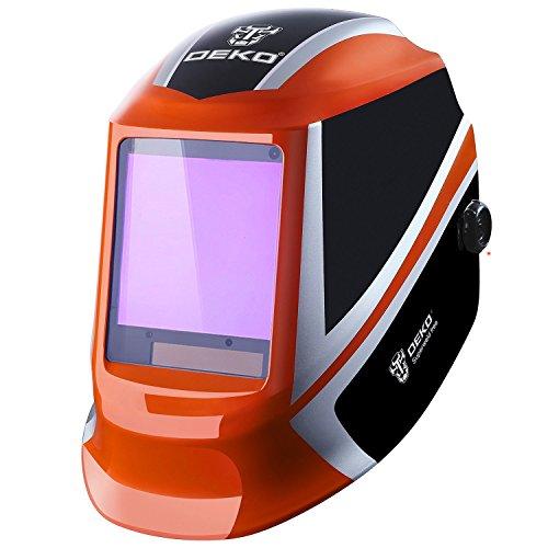 DESOON Solar Power Auto Darkening Welding Helmet with Wide Lens Adjustable Shade Range 4/9-13 for Mig Tig Arc Weld Grinding Welder Mask (orange)