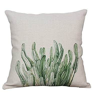 YeeJu Green Plant Decorative Throw Pillow Covers Cotton Linen Square Cushion Cover Outdoor Sofa Home Pillow Covers 18x18 Inch
