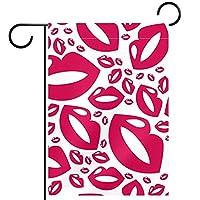 ホームガーデンフラッグ両面春夏庭屋外装飾 12x18in,ピンクの唇