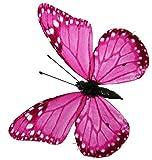 Magnetische Schmetterlinge mit Clip pink 6 Stück, 8 cm, Tierattrappe, Frühlingsdekoration Naturgetreu