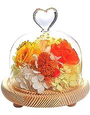 ティートサイト プリザーブドフラワー フラワーアレンジ ラッピング済み ハートガラスポット 3輪 (花 色 )