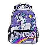 Mochila escolar de lona de gran capacidad, diseño de unicornio, nubes de arcoíris y estrellas, color morado