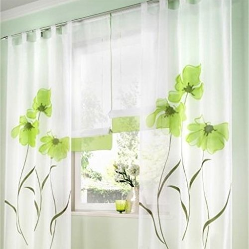 SIMPVALE 2 stücks Gardinenschal Gardine Print Blumen Vorhang für Wohnzimmer Schlafzimmer Schlaufenschal, Breite 150cm / Höhe 145cm, Grün