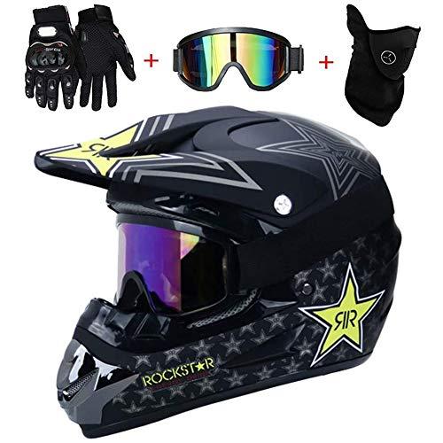 AMITD Casco De Motocross para Adultos Casco De Motocicleta MX Scooter ATV Casco Certificación Dot Rockstar Gafas Guantes Máscara, Black, L(56~57)