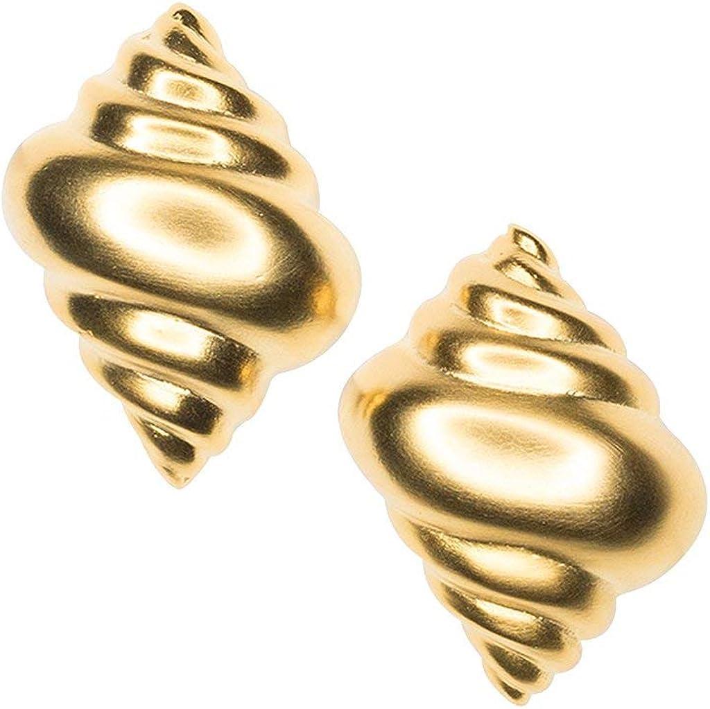 Kenneth Jay Lane, Satin Gold Plate SEA Shell Clip Earrings