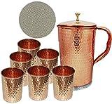 Lanzador de cobre w/mango de cobre y 6 vasos, 100% puro Embarcaciones martillado, Heavy Duty Jarro de cobre, hecha a mano, 1600-ML, Mejor para el agua, el Ayurveda, Moscow Mule, cócteles