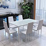 OUTDOOR DOIT High Gloss Dining Table Set With 6 PU Leather Chairs Morden Kitchen Dining Table Dining Room Furniture (White)