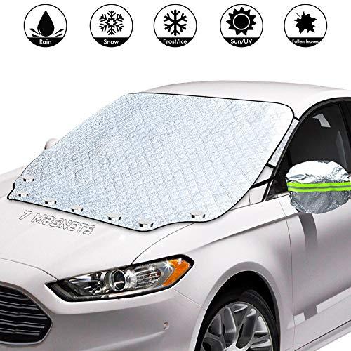 AmzKoi Frontscheibenabdeckung Auto Magnetisch, Windschutzscheibe Abdeckung mit Reflektierenden Rückspiegelabdeckungen, Ultra-Dicke Autoabdeckung aus Aluminiumfolie für Winter (Silber)