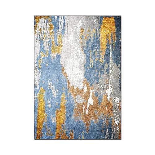 WIVION Rutschfester Teppich Moderne Vintage Abstrakte Goldblau Graue Polyester-Mikrofaser-Teppiche Anti-Rutsch-Schlafzimmerteppich Fußmatten Groß Für Flur Schlafzimmer,100x150cm(39x59inch)