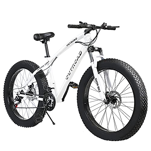 PanAme 21 Speed Fat Tire Adult Mountain Bike, 26-inch Wheel Bicycle, 4-inch Wide Tire, Steel Frame,...